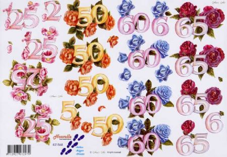 Anniversary Numbers & Flowers 3d Decoupage Sheet from Le Suh